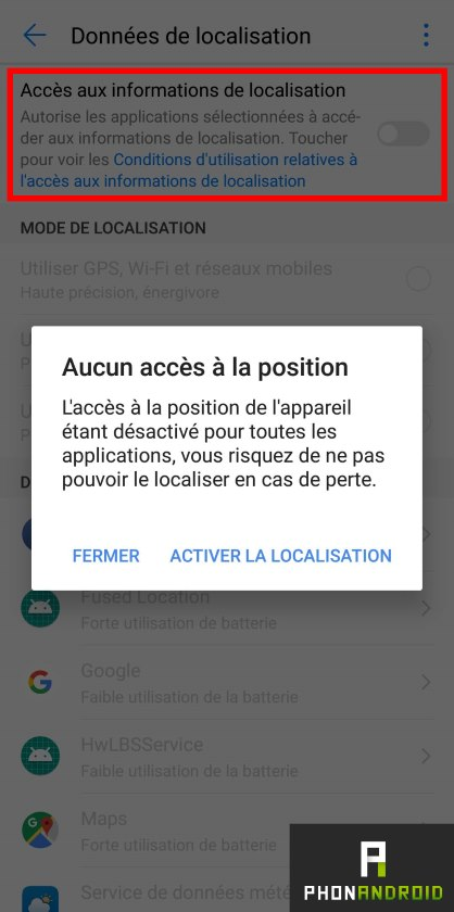 android disable location