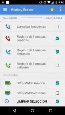 clear log sms calls