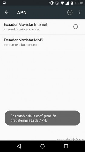 configure android mms reset apn