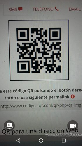 Google allows you to read QR codes with the cell phone