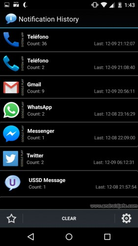 view notification history on android app