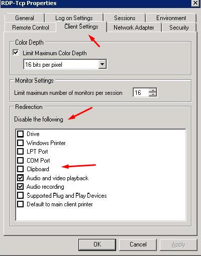 RDP client settings